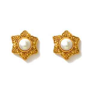 Chanel Gilt Star & Mabe Pearl Earrings