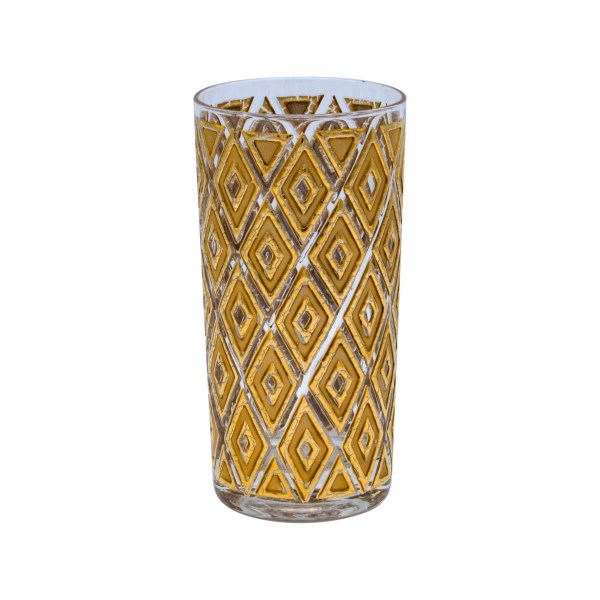 Product Photo Single Glass View for Mid Century Gold Diamond Highball Glasses, Set of Six (6)