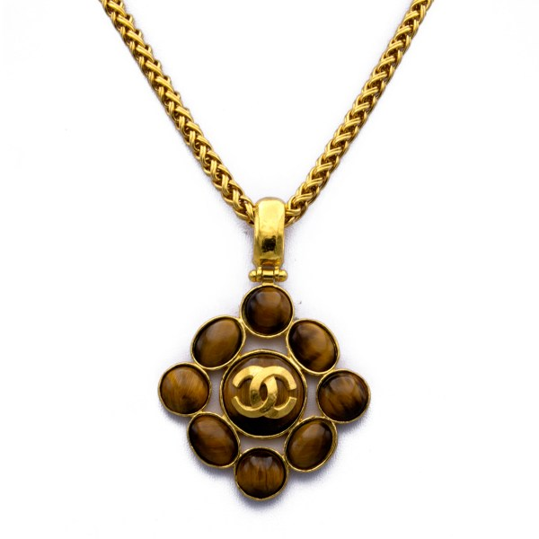 """Chanel 33 1/2"""" Gilt Wheat Chain with Tiger's Eye Cabochon Pendant, Autumn 1995"""