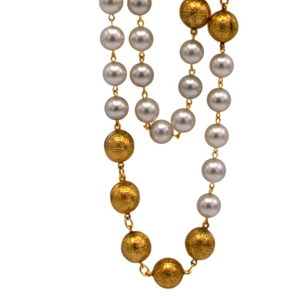 Chanel 34 1/2″ Double Strand Gilt Embossed Beads Alternating with Pearls, 1990
