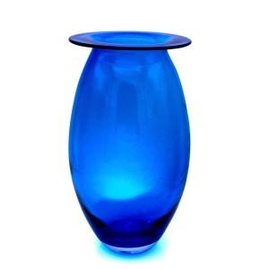 Blenko Blue Oval Art Glass Vase,1970s