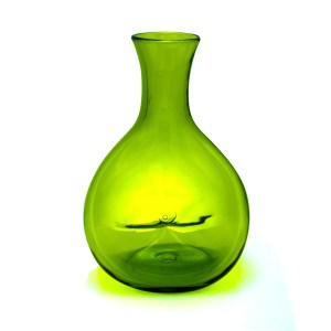 Blenko Green Pinched Glass Donut Vase, 1940s-1950s
