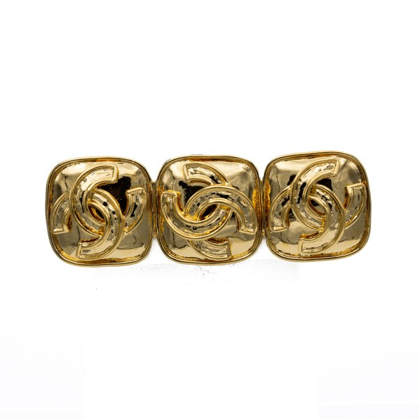 "Chanel 2 7/8"" Gilt Triple Logo Bar Brooch, Spring 1994"