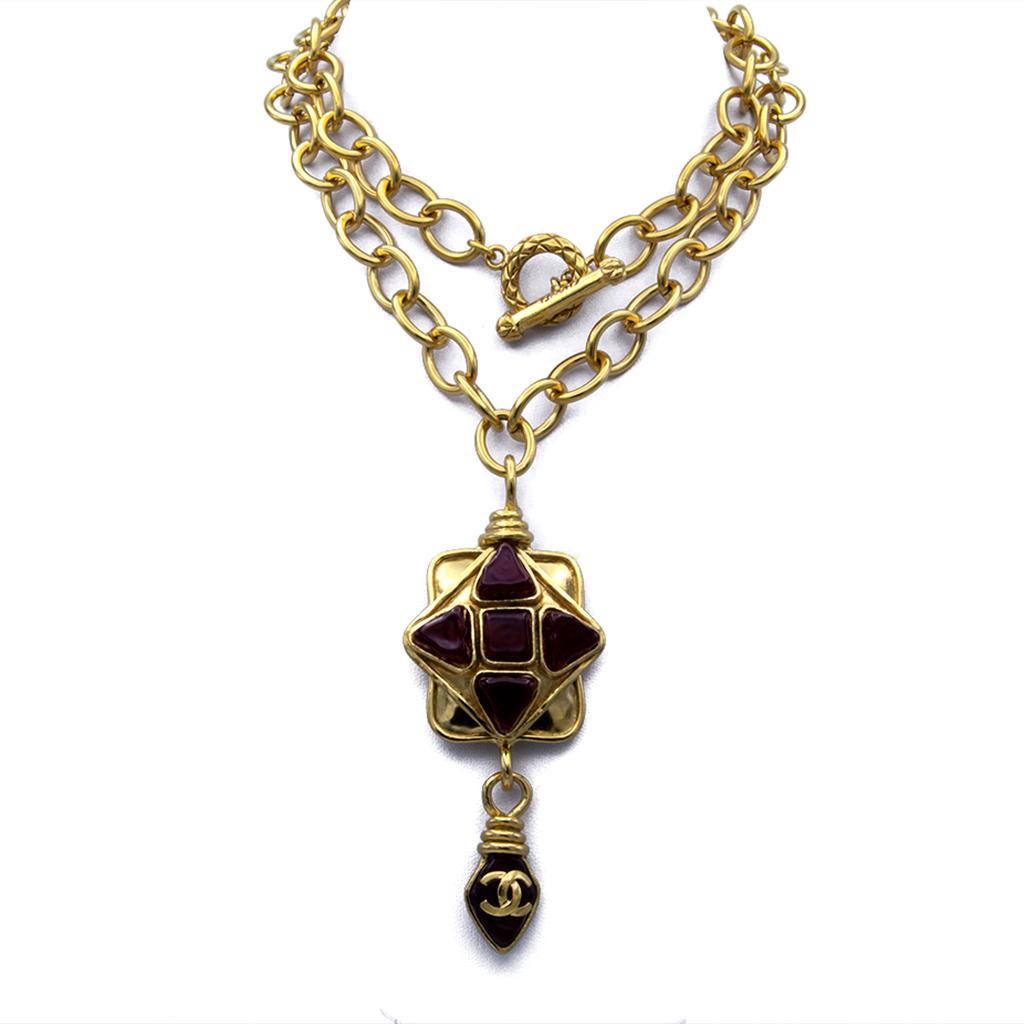 """Chanel 32"""" Red Gripoix Quatrefoil Pendant Necklace, Spring 1995"""