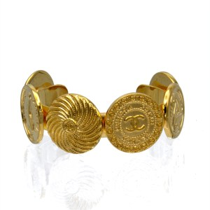 Chanel 6 Disk Gilt Band Cuff, 1988