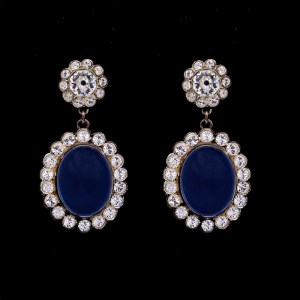 "Product photo of Revival Paste ""Anastasia"" Clear & Sapphire Paste Earrings"