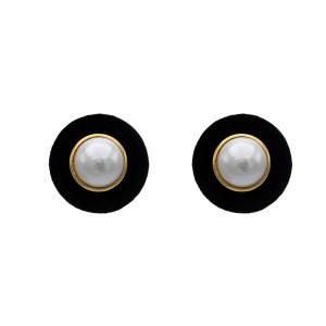 """Chanel 1 5/8"""" Mabe Pearl Earrings in a Black Velvet Frame, 1986"""