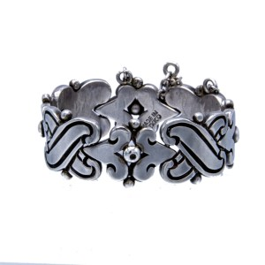 "Vintage Taxco Hector Aguilar 940 Silver ""Dimpled Dots"" Fertility Bracelet"
