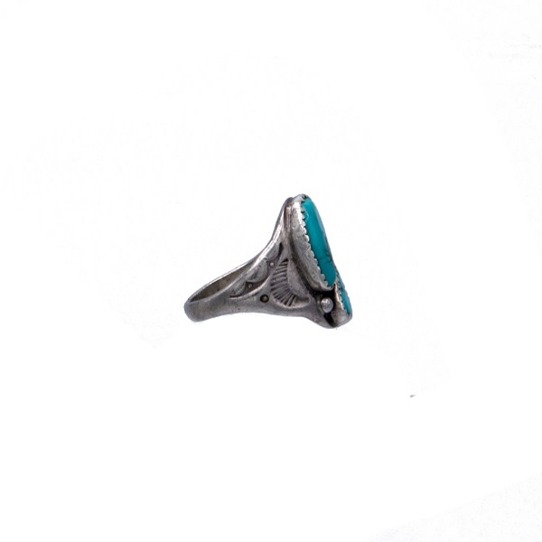 Product Photo Side View for Vintage Native American Sterling & Double Turquoise Stone Ring