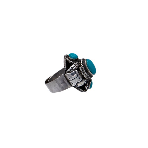 Product Photo Side View of Vintage Taxco Sterling & Turquoise Poison Ring, circa 1960