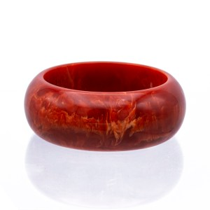 Product photo of Marbled Tangerine Bakelite Bangle, 1950s