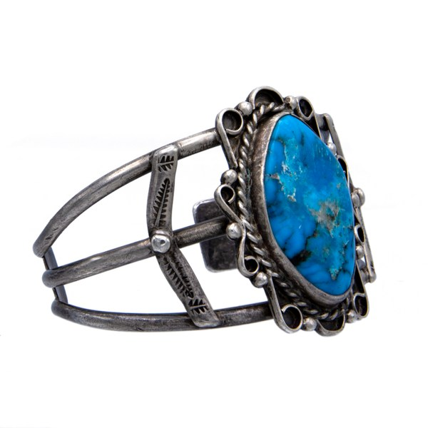Product Photo of Vintage Navajo Large Turquoise Cabochon Cuff Bracelet