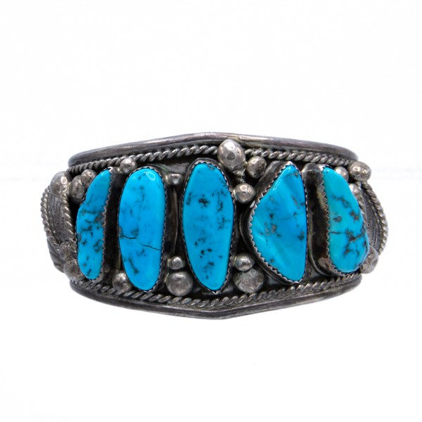 Product Photo of Vintage Navajo K. Emerson Sterling Cuff Bracelet with Five Turquoise Cabochons