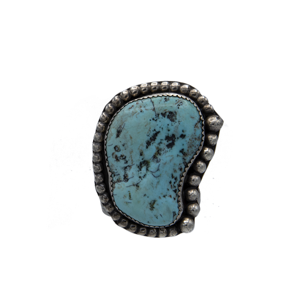 Product Photo of Native American Amoeba Shaped Sterling & Turquoise Ring, 1970