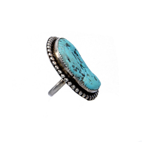 Product photo Side View of Native American Amoeba Shaped Sterling & Turquoise Ring, 1970