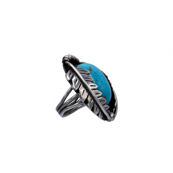 Product Photo side view of Vintage Native American Large Chunky Sterling & Turquoise Ring, 1970