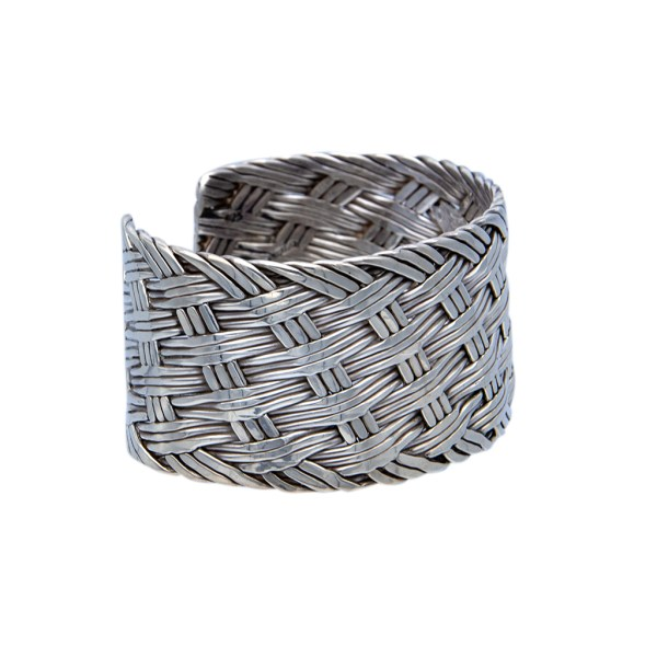 Product Photo Side View of Mexican Sterling Silver Woven Cuff Bracelet