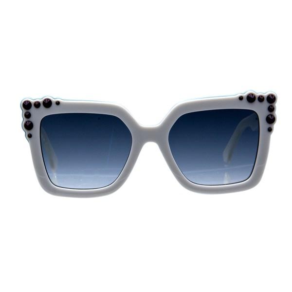 Fendi White Sunglasses with Maroon Studs
