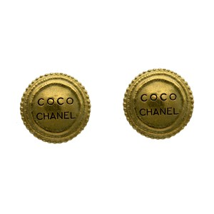 "Chanel 1 1/4"" Gilt Dome Earrings with Black Enamel COCO CHANEL, Autumn 1994"