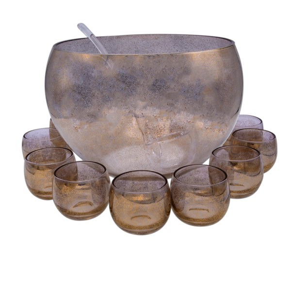 Product Photo for Dorothy Thorpe Gold Fleck Punch Bowl with Ladle & Ten (10) Roly Poly Glasses