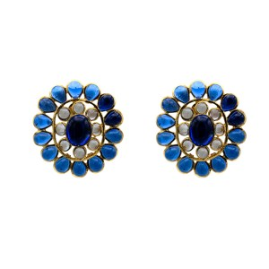 "Chanel 1 5/8"" Openwork Blue Gripoix Earrings, 1980"