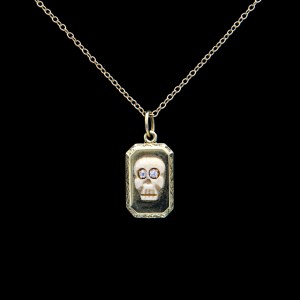 Product Photo for Rectangular Locket Memento Mori Necklace