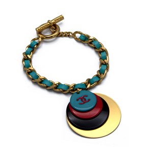 064ec5377 Chanel Gilt Curb Chain Bracelet with Aqua Leather & Multi-Color Charms,  Autumn 2001