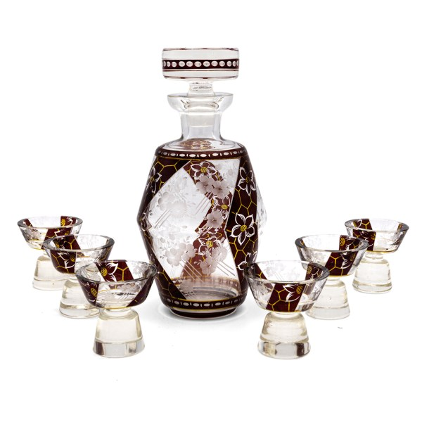 1930s Karl Palda Barrel Shaped Burgundy Decanter with Cordial Glasses, Set of Six (6)