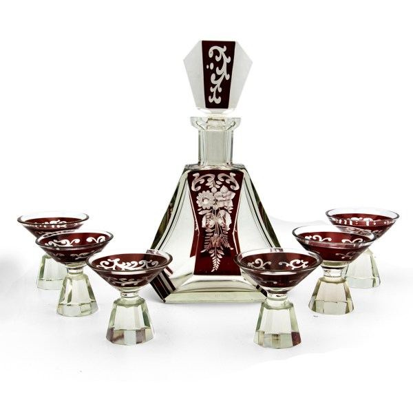 1930s Karl Palda Burgundy Triangular Decanter & Cordial Glasses, Set of Six (6)