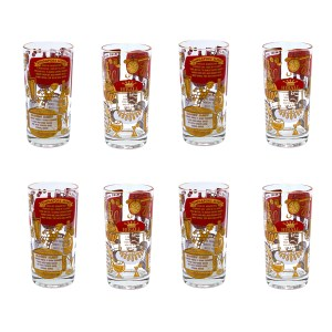 Mid Century 22k Gold, Red, & White Cocktail Recipe Highball Glasses, Set of Eight (8)