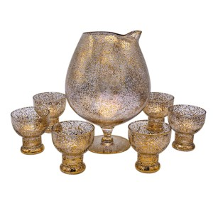 Dorothy Thorpe Gold Fleck Cocktail Pitcher & Set of Six (6) Martini Glasses
