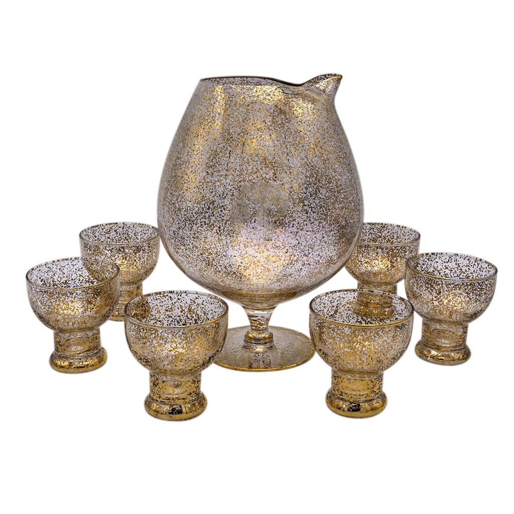 Dorothy Thorpe Gold Fleck Cocktail Pitcher & Set of Six (6) Martini Glasses