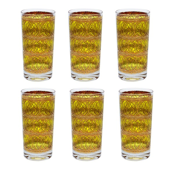 Culver 22k Gold and Yellow Intersecting Rings Highball Glasses, Set of Six (6)