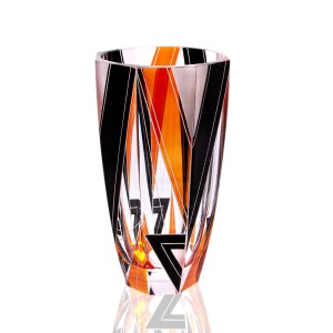 Karl Palda Orange, Black & Frosted White Large Vase, 1930s