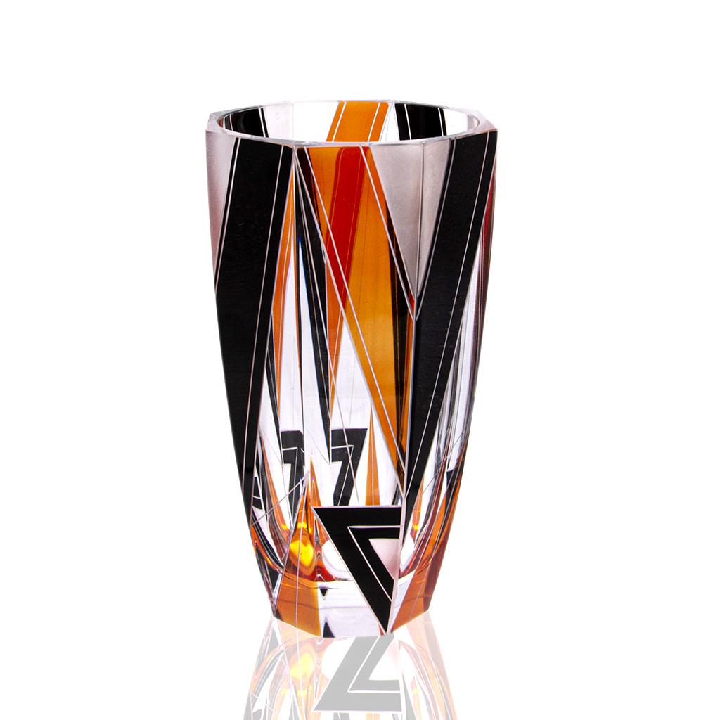 Karl Palda Orange, Black & Frosted White Large Vase, 1930s