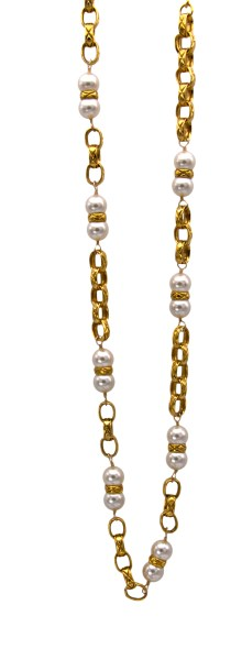 """Chanel 35"""" Oval Link Chain with Pearls Bisected by Quilted Band, 1986"""