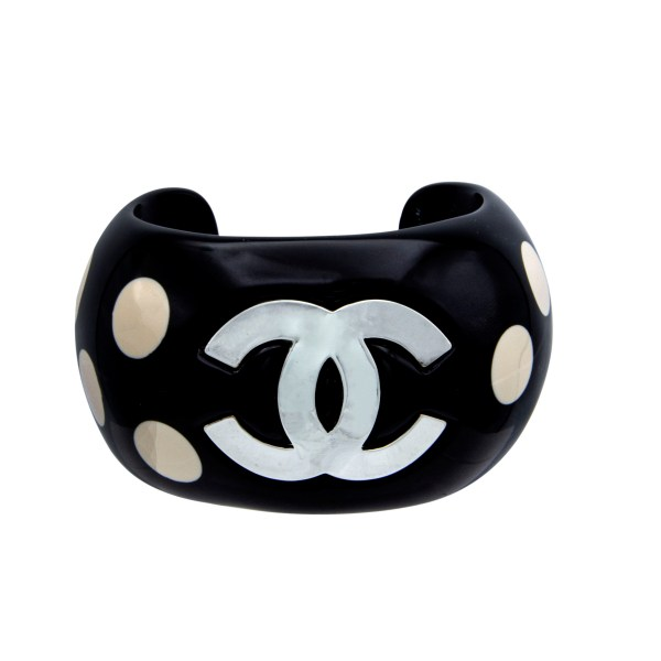 "Chanel 1 1/16"" Black Acrylic Cuff Bracelet with Ivory Dots & Gilt Logo, Spring 1996"