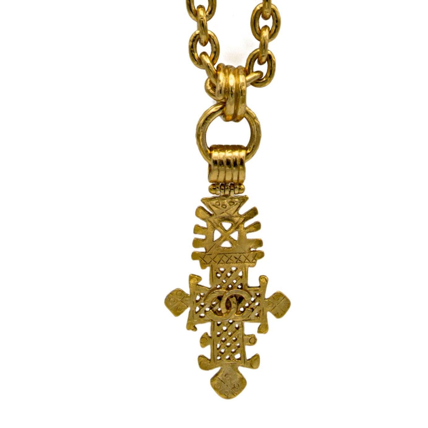 Chanel Pierced Cross Pendant Necklace, Spring 1994