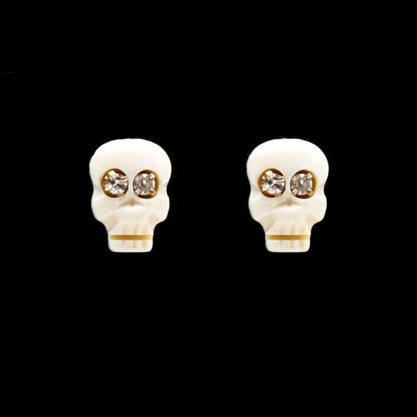 Memento Mori Stud Earrings with Diamond Eyes
