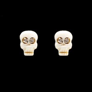 Memento Mori Stud Earrings with Diamond Eyes
