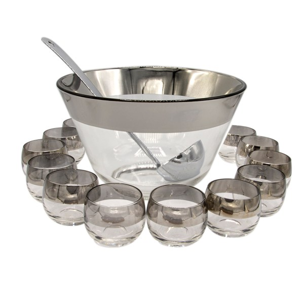 Dorothy Thorpe Silver Rimmed Punch Bowl & Roly Poly Glasses, Set of Fourteen (14)