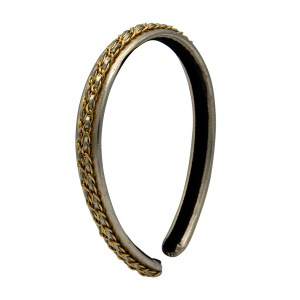 "Chanel 11/16"" Gold Leather & Gilt Chain Headband, 1990"