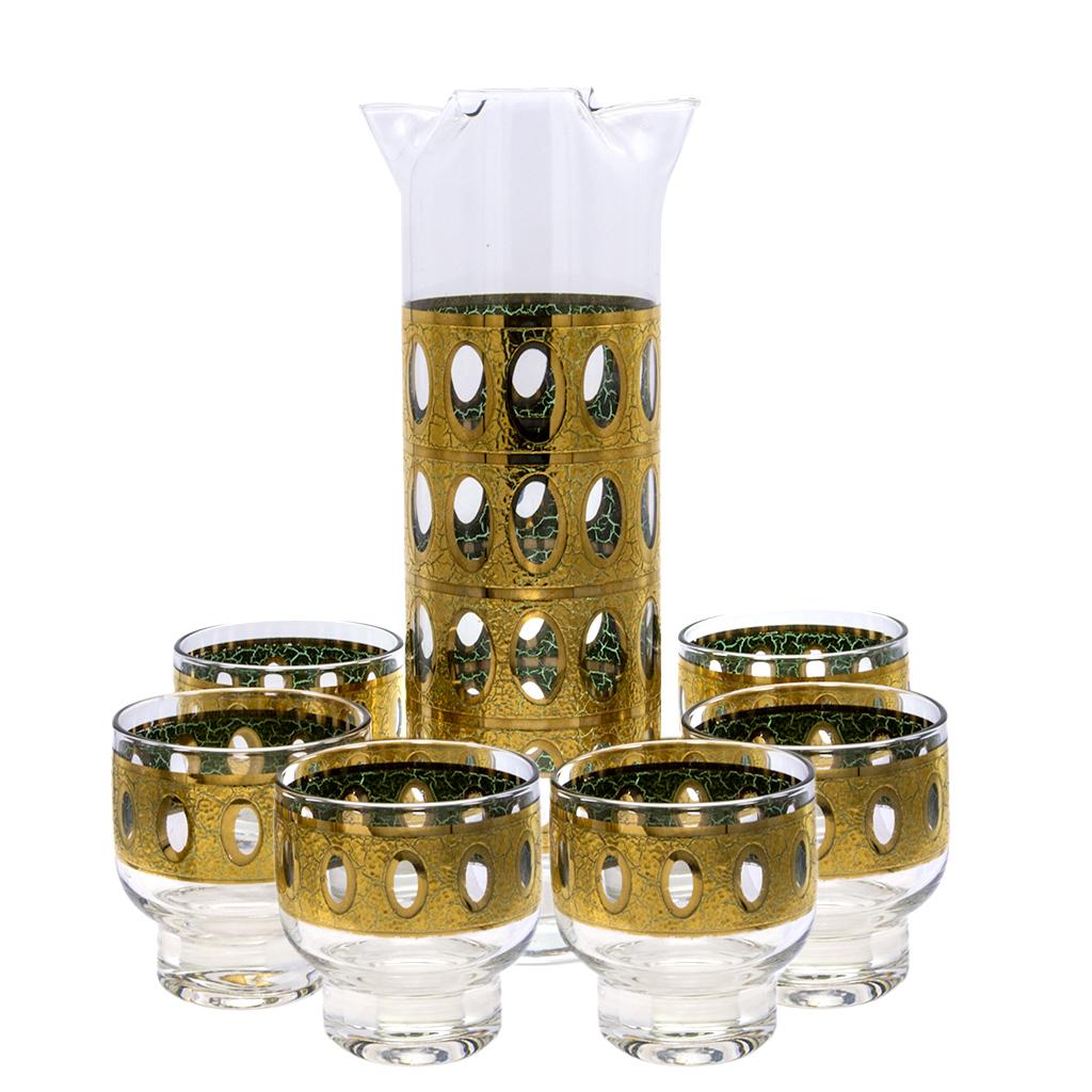 "Culver ""Pisa"" 22k Gold Pitcher & Footed Rocks Glasses, Set of Six (6)"