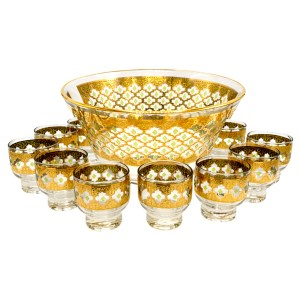 """Culver """"Valencia"""" Green & 22k Gold Punchbowl with Footed Martini Glasses, Set of Twelve (12)"""
