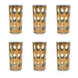 "Culver ""Pisa"" 22k Gold Highball Glasses, Set of Six (6)"