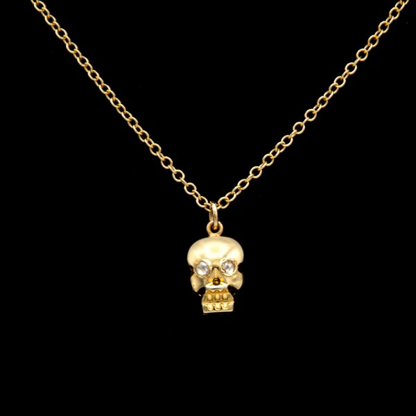14k Gold Memento Mori Skull Pendant with Diamond Eyes
