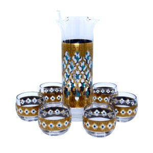 """Culver 22k Gold & Turquoise """"Valencia"""" Pitcher & Roly Poly Glasses, Set of Six (6)"""