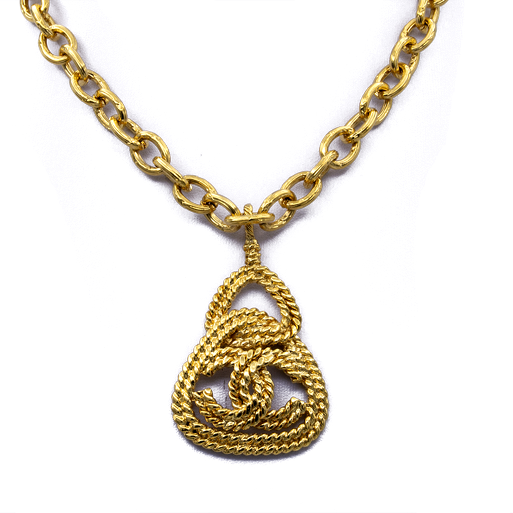 "Chanel 30 3/4"" Rope Twist Triangle Pendant Necklace, Autumn 1993"