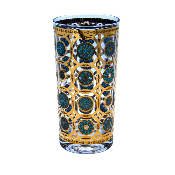 "Culver ""Aztec"" Turquoise & 22k Gold Highball Glasses, Set of Eight (8)"