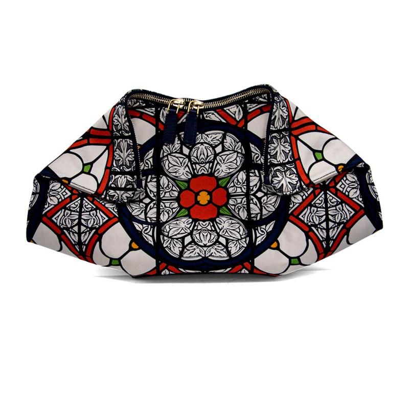 Alexander McQueen Multi-Color Floral Satin De Manta Clutch
